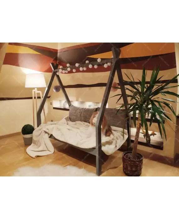 lit enfant tipi cabane avec barriere