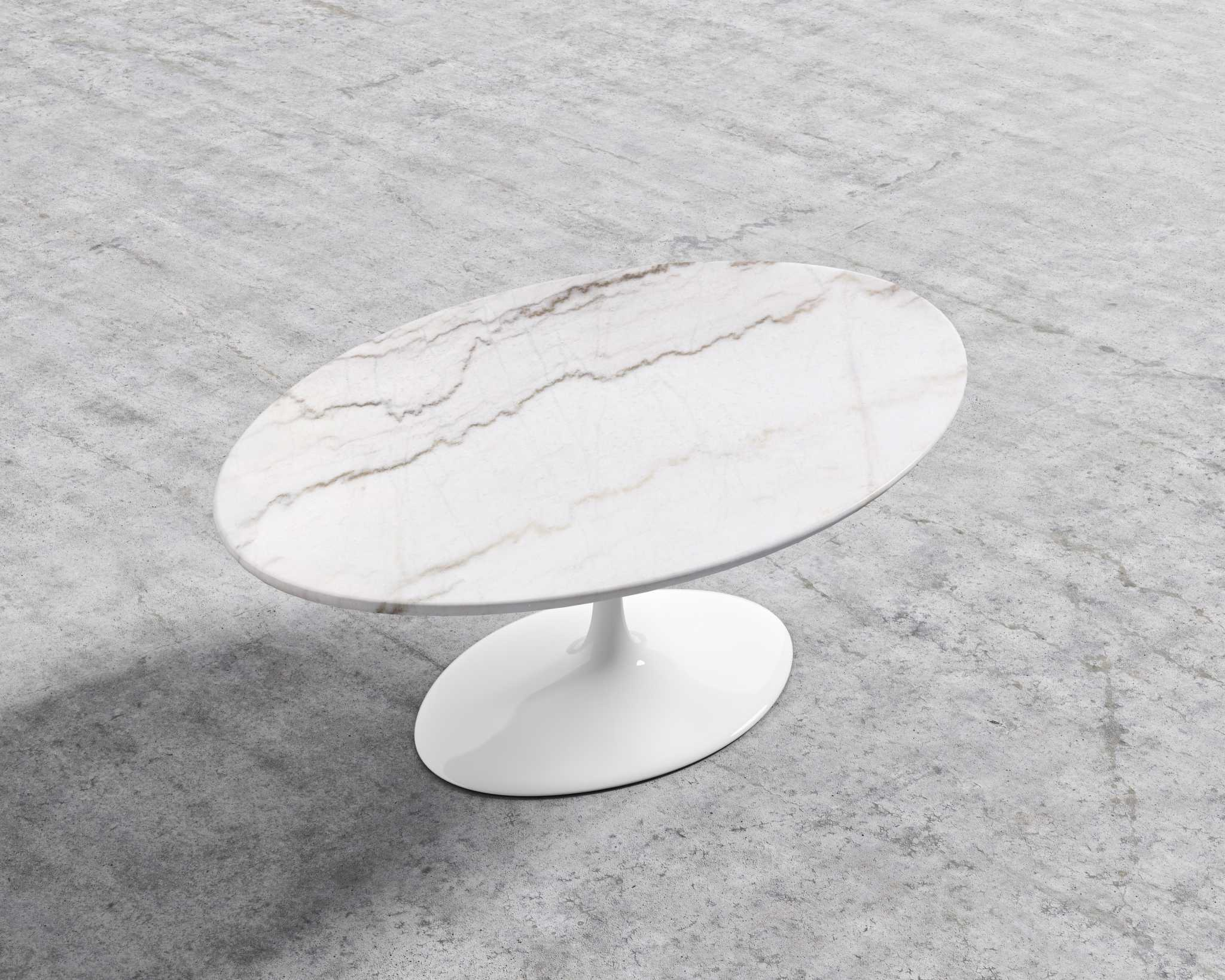 tulip coffee table marble top oval or round