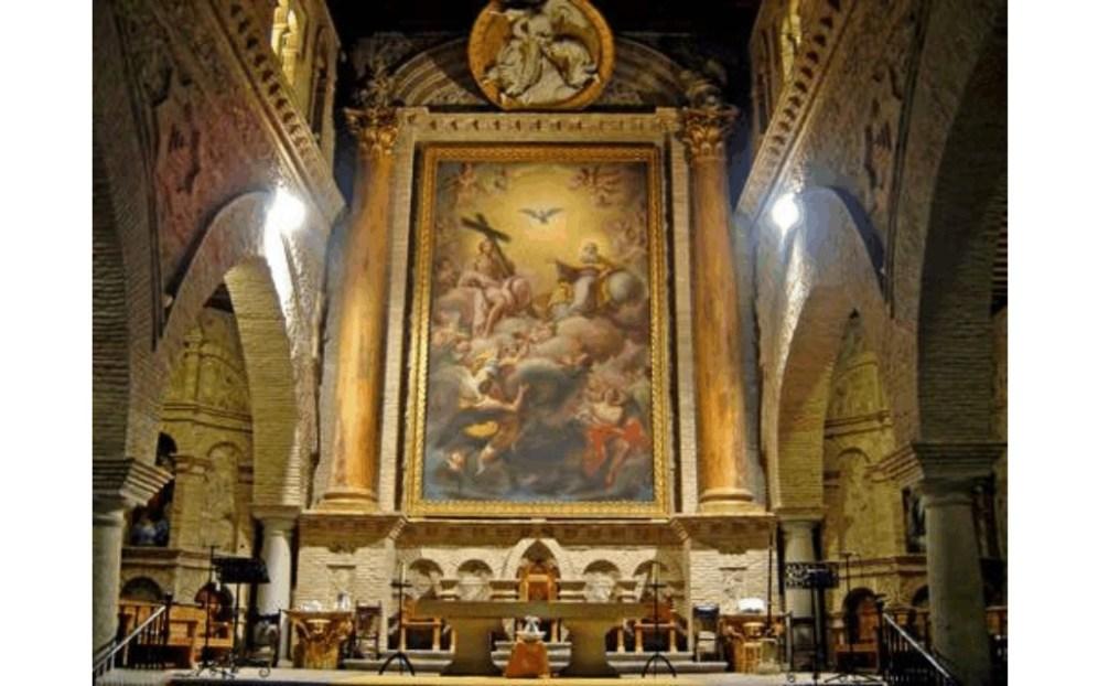 02. Desmantelado y trasladado solamente en parte, fuera de contexto y escala, el retablo se encuentra en la actualidad en la iglesia parroquial de Olías del Rey hombredepalo