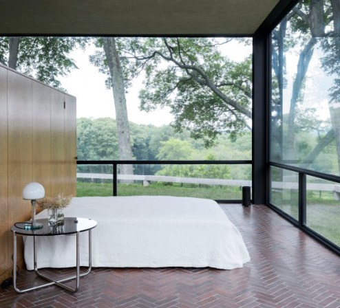 """Glass House"" de Philip Johson, 1949. Dormitorio."