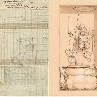C. Croquis y reconstrucción con la lectura actual como jefa vikinga.