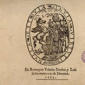 """""""En Roma por Valerio Dorico y Luis su hermano"""" 1553"""