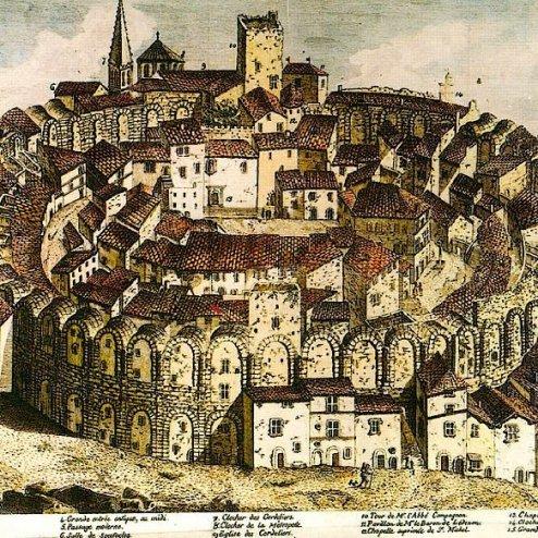 El anfiteatro de Arlés en 1686. Grabado de JG Guibert.
