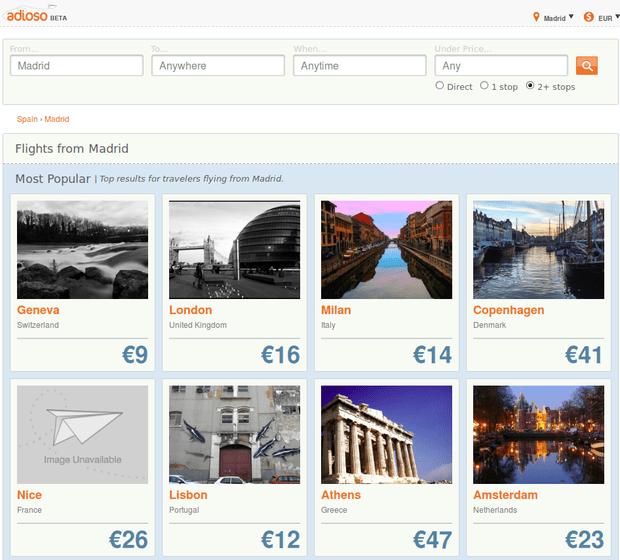 Adioso, buscador de vuelos baratos visual