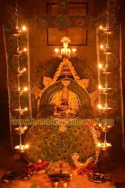 Hombuja-Jain-Math-Humcha-Goddess-Padmavati-Peacock-Decoration-Lighting