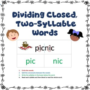 Dividing Closed. Two-Syllable Words