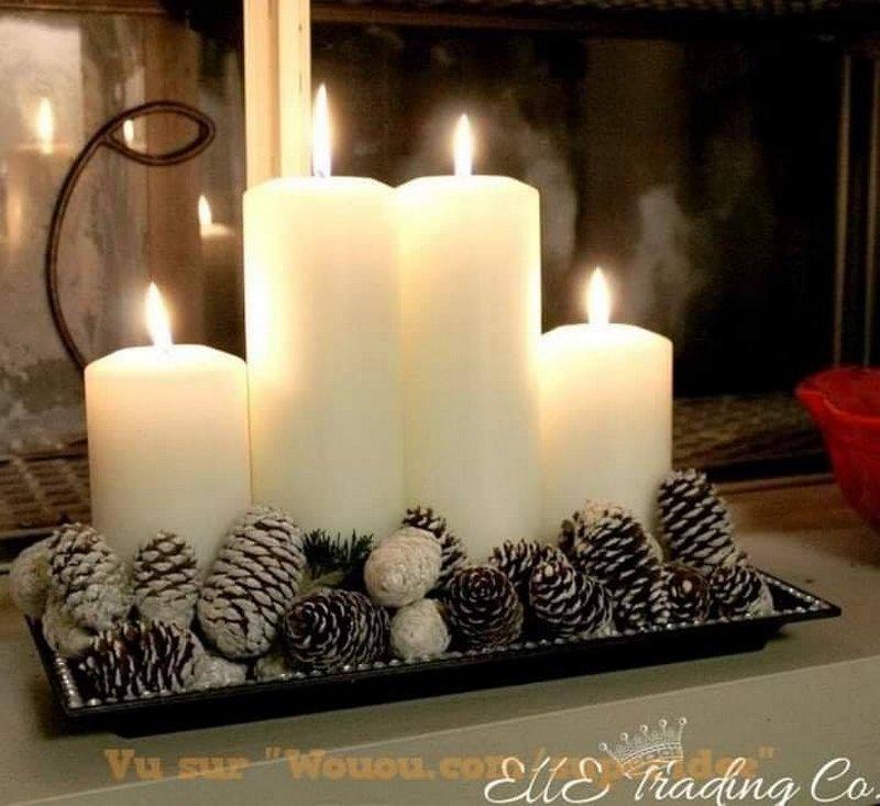 маленькая композиция со свечей и шишек