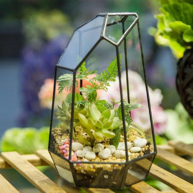 стекляный горшок для цветов