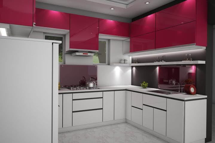 100 Sq Ft, White & Red Rose, Kitchen Interior Design