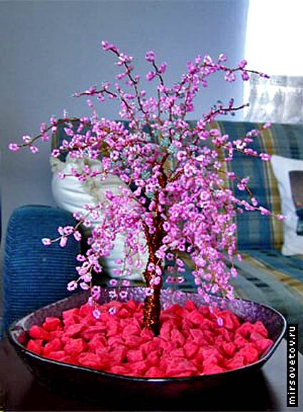 Сакура дерево бонсай из бисера