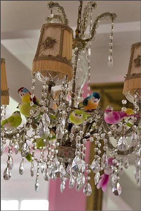рукотворная люстра птички