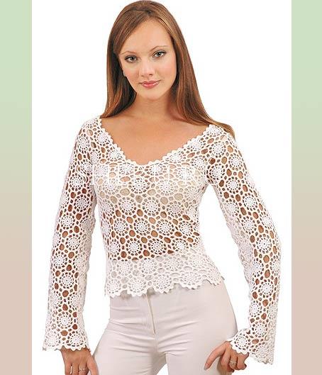 кружевная блуза из мотивов крючком