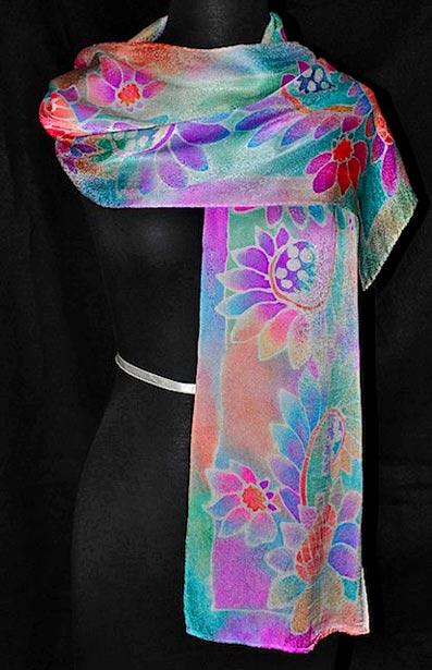 батик роспись по шелку шарф палантин