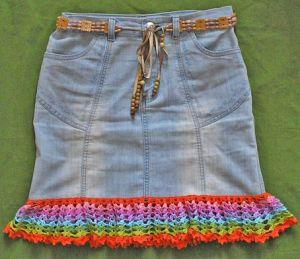джинсовая юбка обязанная крючком