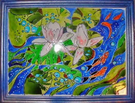 картина витражными красками лотосы