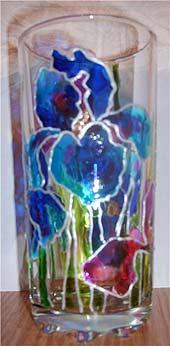 ирисы витражными красками стакан