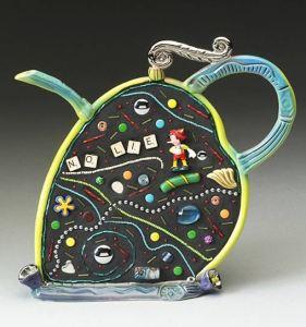 чайник из глины бисера и бусин