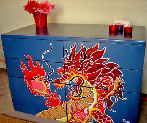 роспись комода китайским драконом