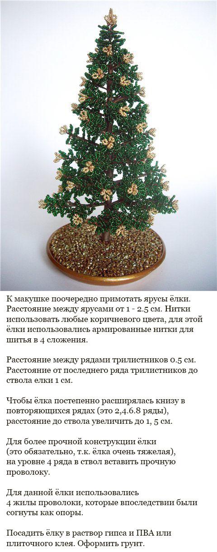 Готовая елка из бисера - как сплести