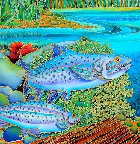 картина с рыбами батик