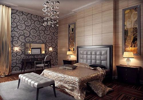 Современный арт деко в интерьере спальни