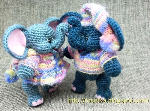 амигуруми крючком слонята