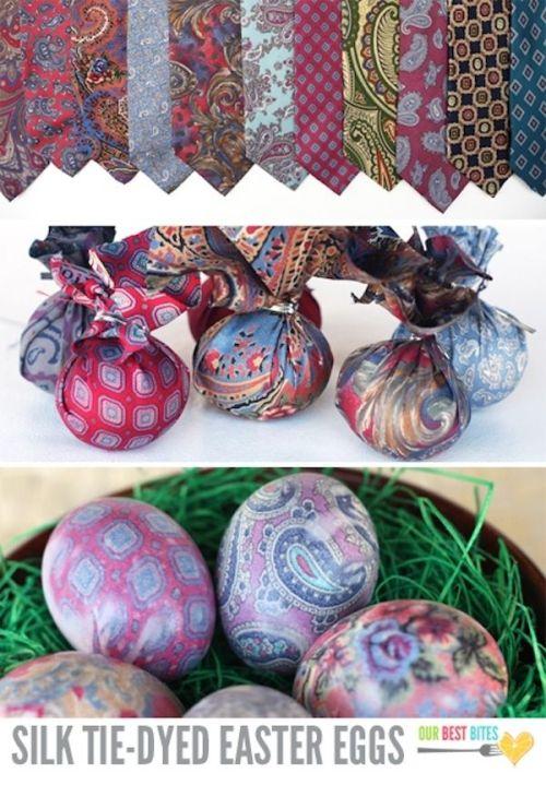 Покраска яиц техникой варки ткани
