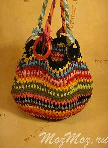 5965642b78a7 Вязание из лоскутов и полосок ткани — сумка крючком   Мой Милый Дом ...