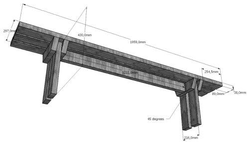 Размеры скамейки