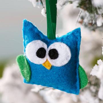 Новогодняя игрушка сова из фетра