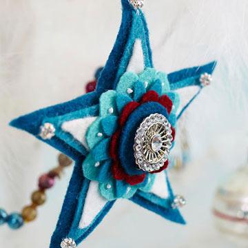 Новогодняя игрушка объемная звезда из фетра