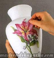 декупаж керамической вазы 5
