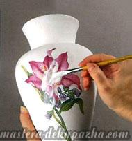 декупаж керамической вазы 6