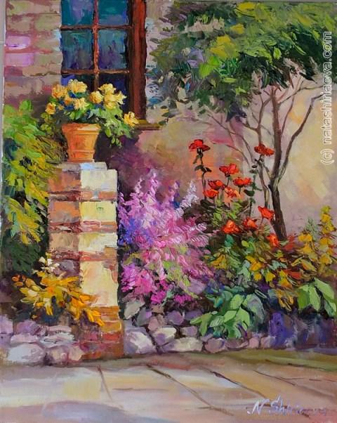 картина маслом на холсте сад