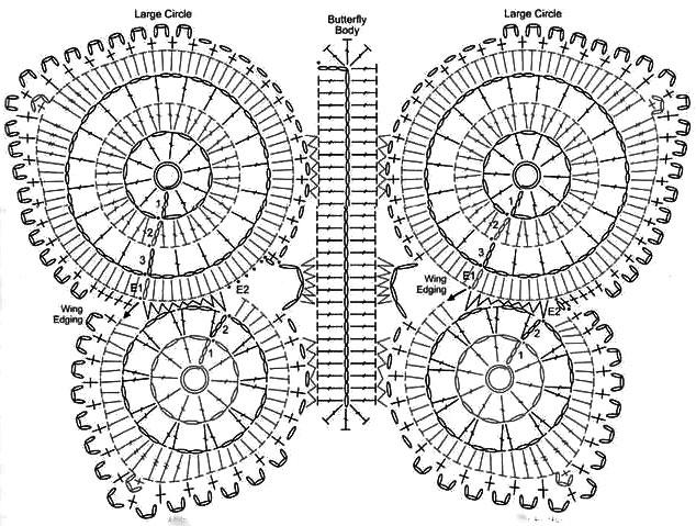 Схема вязания крючком - бабочка коврик
