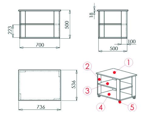Схема и чертеж журнального столика