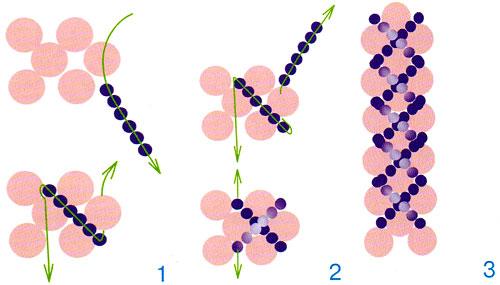 Схема плетения простого колье из бисера