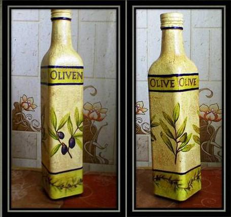 Декупаж бутылки салфетками для начинающих