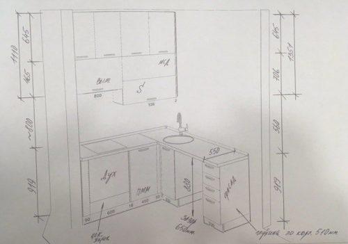 Современная идея дизайна маленькой кухни - чертеж