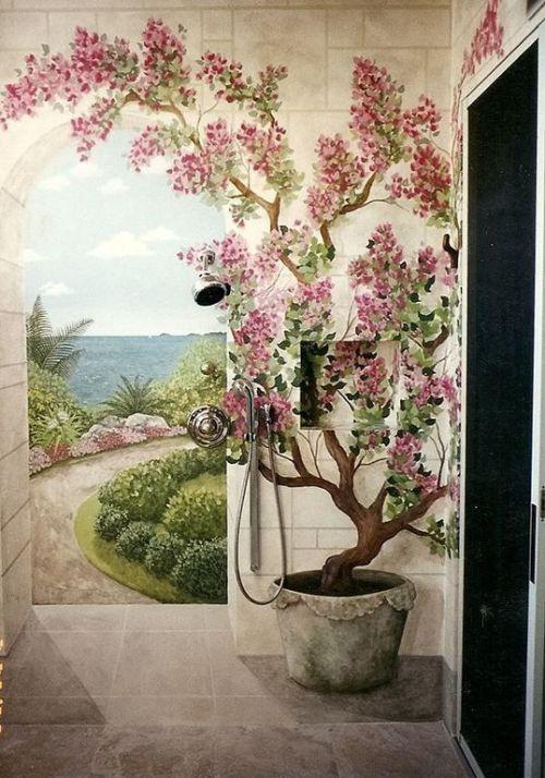 Объемная роспись на стене - цветущий куст в кадке