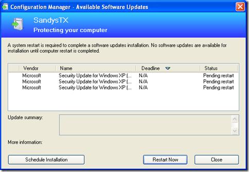 ConfigMgr Pending Restart Dialog