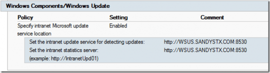 Group Policy Result - Specify [an Incorrect] Intranet Microsoft Update Service Location
