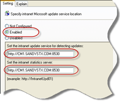 Group Policy - Specify Intranet Microsoft Update Service Location