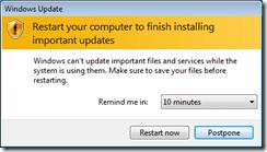 Windows Update Agent Restart Request on Win7