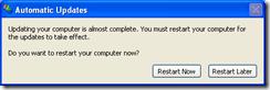 Windows Update Agent Restart Request on WinXP