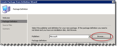 Browse in the Create Package From Definition Wizard