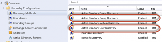 Active Directory User Discovery and Active Directory User Group Discovery Enabled