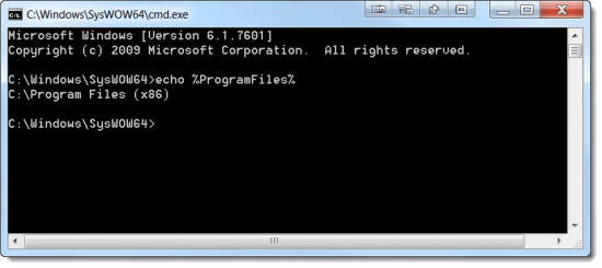 %ProgramFiles% from a 32-bit command-prompt