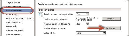 Hardware Inventory Set Classes