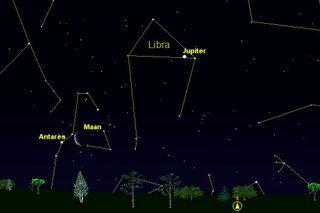Maan en Antares in conjunctie